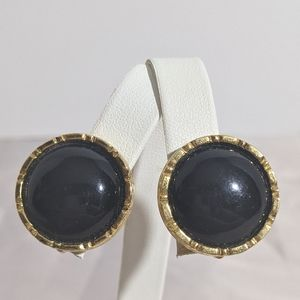 Vintage Gold & Black Liz Claiborne Clip Earrings